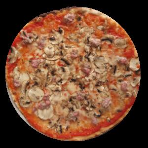 Tomate, mozzarella, champiñones, chorizo italiano