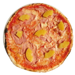 tomato, mozzarella, ham, pineapple