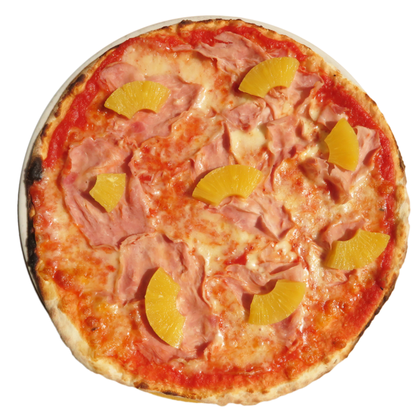 tomato, mozzarella, ham, pineapple