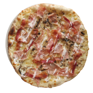 Double cream, ham,cheese, bacon, mushrooms