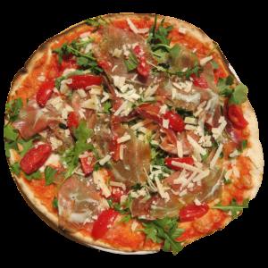 Tomate, mozzarella de búfala, tomates cherry, rúcula, jamón parma, queso parmesano