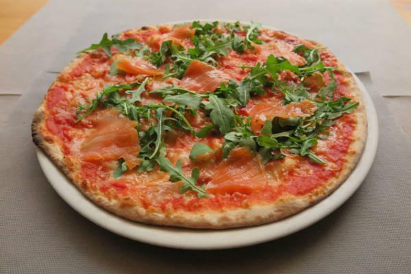 tomato ,mozzarella, salmon, rocket