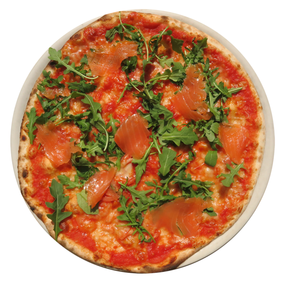 tomato ,mozzarella, salmon, rocket