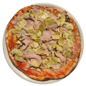 tomato, mozzarella, artichokes, ham and mushrooms