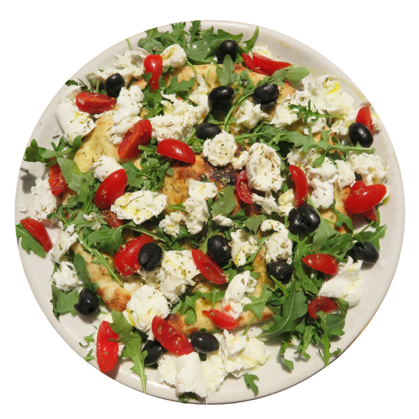 buffalo mozzarella ,cherry tomatoes ,rocket , olives