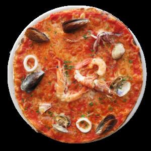 Tomate, mozzarella, mariscos