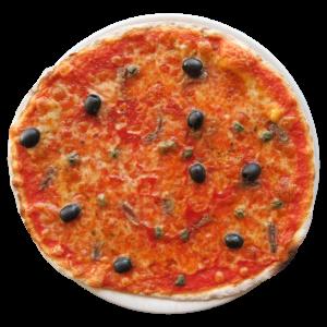 Tomate, mozzarella, anchoas, aceitunas, alcaparras, orégano