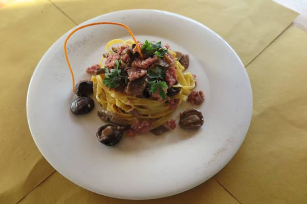 Handmade Tagliatelle with Mushroom and Italian Sausage